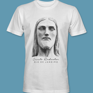 Camiseta Rosto 1 do Cristo Redentor branca tamanho P