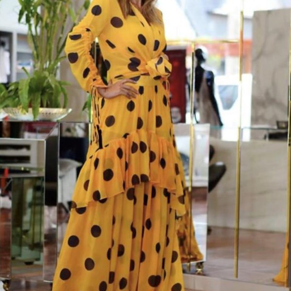 Vestido Poá Skazi Amarelo