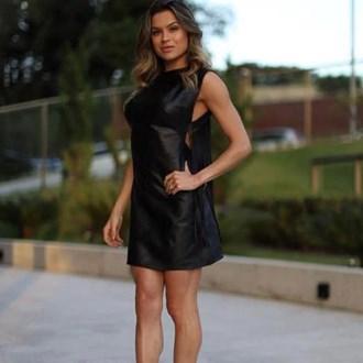 Vestido Black Couro Eco