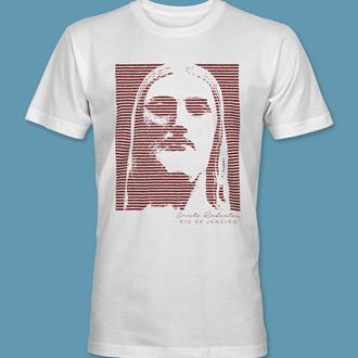 Camiseta Cristo Redentor 6 branca gola redonda,  tamanhos PP / P / M / G / GG / XG