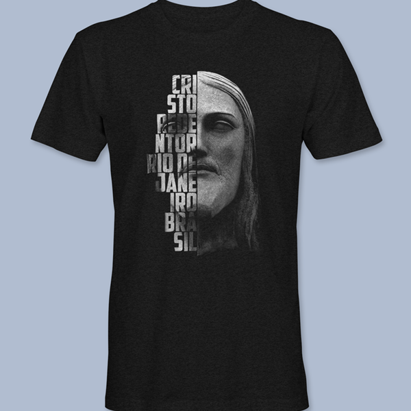Camiseta Cristo Redentor 3 preta gola redonda,  tamanhos PP / P / M / G / GG / XG