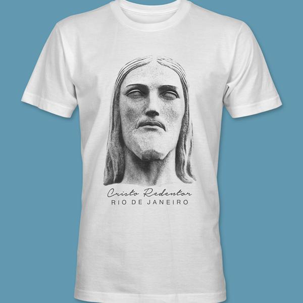 Camiseta Rosto 1 do Cristo Redentor branca tamanho XG