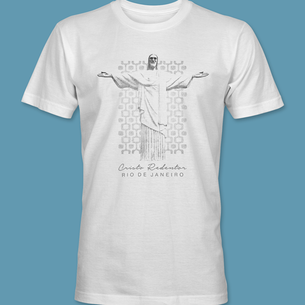 Camiseta Cristo Redentor 2 branca gola redonda,  tamanhos PP / P / M / G / GG / XG