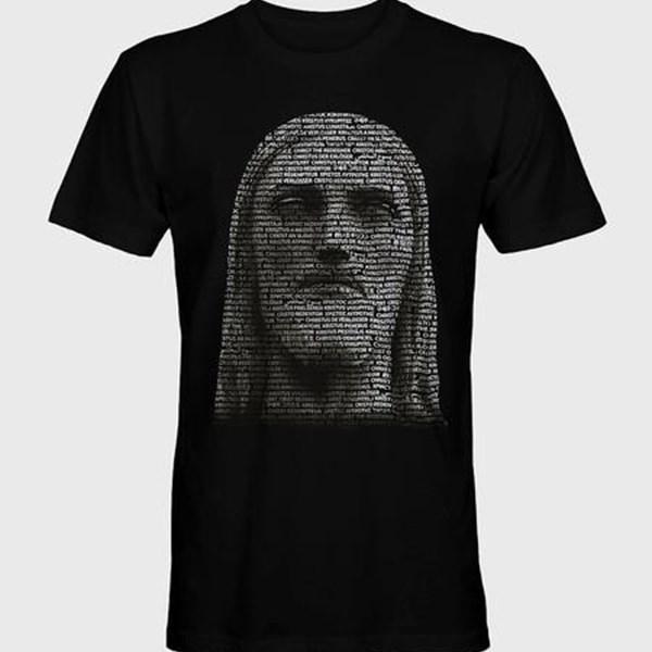 Camiseta Cristo Redentor Rosto em 35 línguas gola redonda preta tamanho M