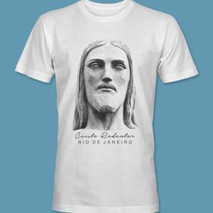 Camiseta Rosto 1 do Cristo Redentor branca tamanho GG